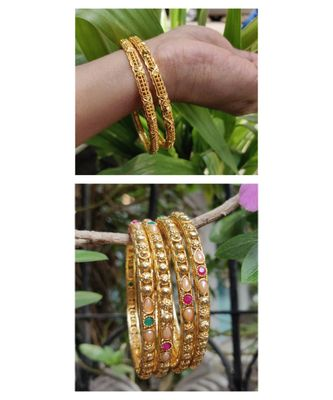 Combo Set Of 2 Pc Gold Plated Bangle And 4 Pc Of Multicolored Stone Gold Plated Bangles