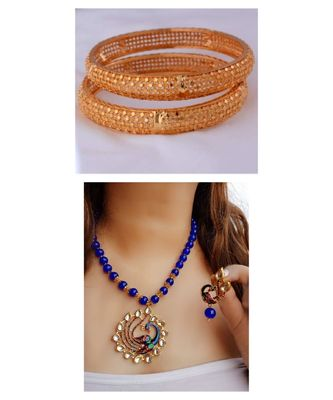 Combo Set Of 2 Pc Gold Plated Bangles And Blue Kundan Peacock  Pendal Necklace  Sets