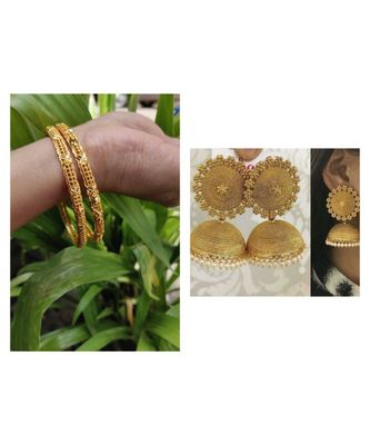 Combo Set Of 2 Pc Gold Plated Bangle And Gold Plated Jhumkas