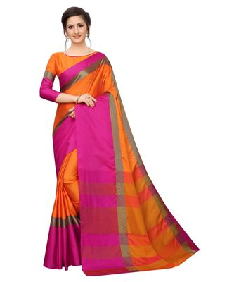 Women   s Cotton Silk Designer Saree with Solid Zari Border Saree