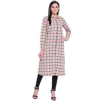Multicolor printed cotton long-kurtis