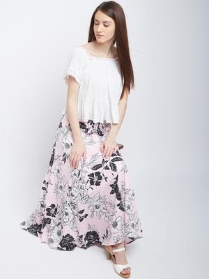 Black printed crepe skirts