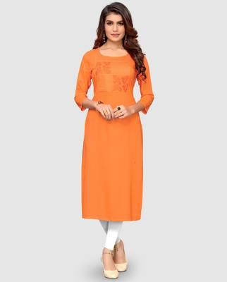 Women's Orange Rayon Straight Kurti