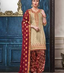 Cream jacquard cotton silk salwar