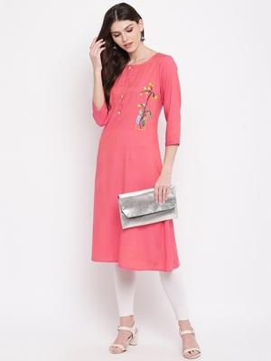 Women's Pink Rayon A-line Kurti