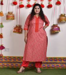 Coral printed cotton kurtas-and-kurtis