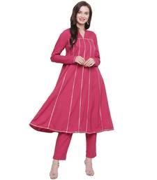Pink woven crepe kurti