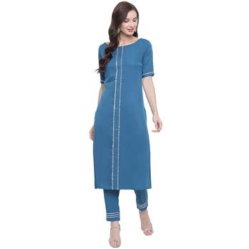 Blue woven crepe kurti