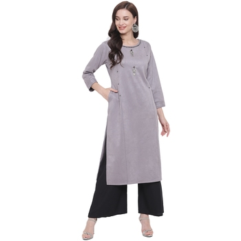 Grey embroidered polyester kurti