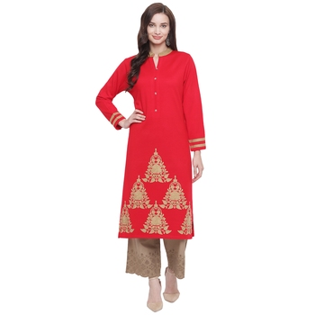 Red embroidered polyester kurti