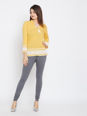 Grey plain cotton leggings