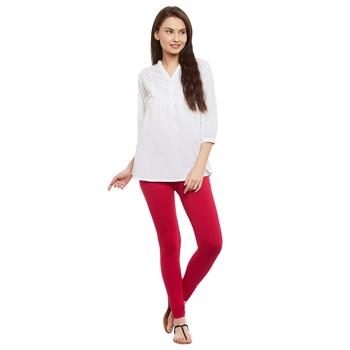 Magenta plain cotton leggings