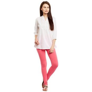 Pink plain cotton leggings