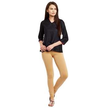 Beige plain cotton leggings