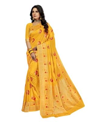 Golden woven silk blend saree with blouse