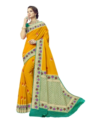 Golden woven silk blend saree with blouse