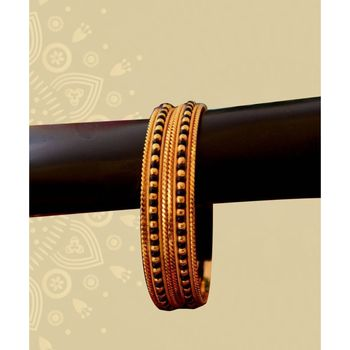 Golden Traditional Black Bead Gold Plated Pair Of Bangles  For Women And Girls