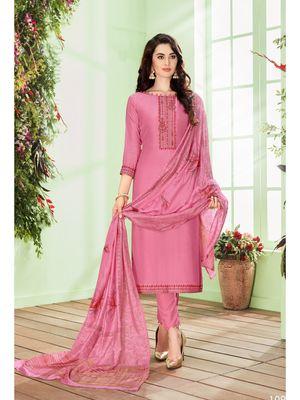 Pink multi resham work cotton silk salwar