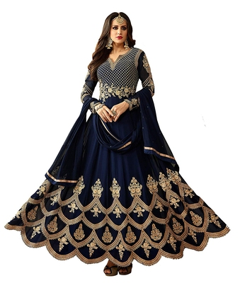 Navy-blue embroidered georgette salwar