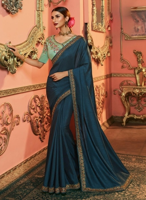 royal blue embroidered silk saree with blouse