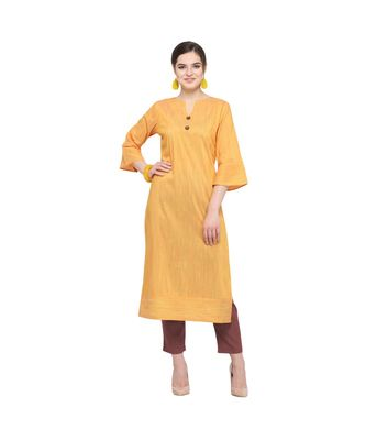 green Elora Cotton Silk Solid Kurti for Women