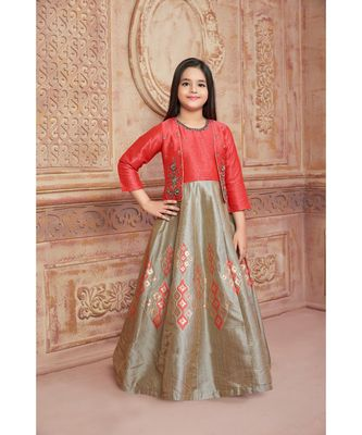 red embroidered polyester kids girl gowns