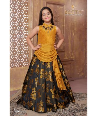 yellow embroidered polyester kids girl gowns