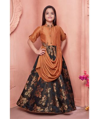 orange embroidered polyester kids girl gowns