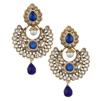 Blue Kundan Chandbali danglers-drops