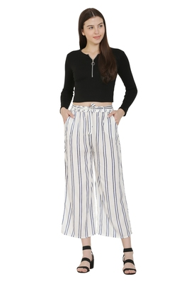 White Color Rayon Fabric Stripped Palazzo