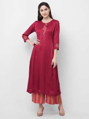 Maroon embroidered satin ethnic-kurtis