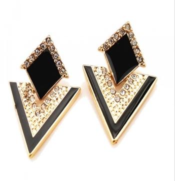 Black Enamel Triangle Party Trendy Stylish Earrings Latest danglers-drops