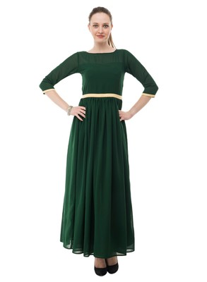 Green plain georgette maxi-dresses