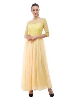Yellow plain georgette maxi-dresses