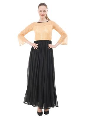 Black plain georgette maxi-dresses