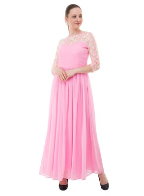 Pink plain georgette maxi-dresses