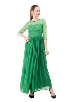 Green plain georgette maxi-dresses