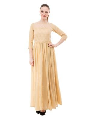 Beige plain georgette maxi-dresses