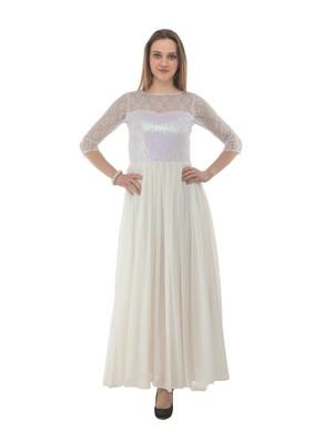 White plain georgette maxi-dresses