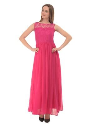Pink plain georgette maxi-dresses