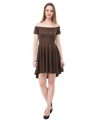 Women's Brown Fit & Flare  Mini Dress