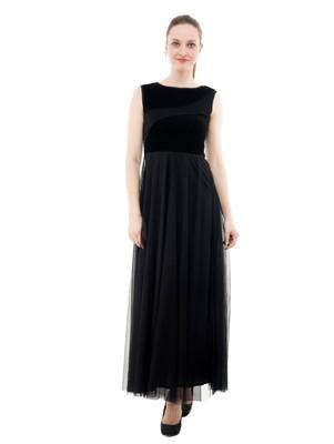 Women's Black Fit & Flare Maxi Dress