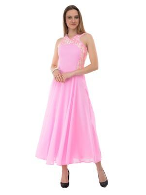 Women's Pink Fit & Flare Maxi Dress