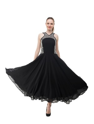 Women's Black Fit & Flare Maxi Dress