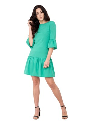 Green plain crepe dresses
