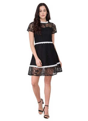 Black plain crepe dresses