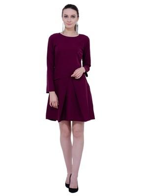 Brown plain crepe dresses