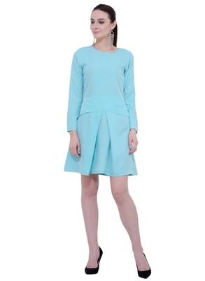 blue plain crepe dresses