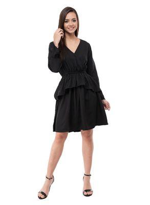 Women's Crepe Black Wrap Mini Dress