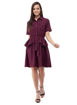 Women's Crepe Brown A-Line Mini Dress